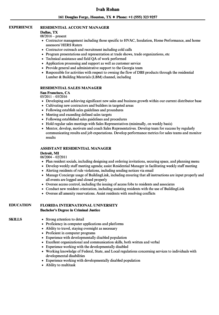 residential manager resume samples velvet jobs