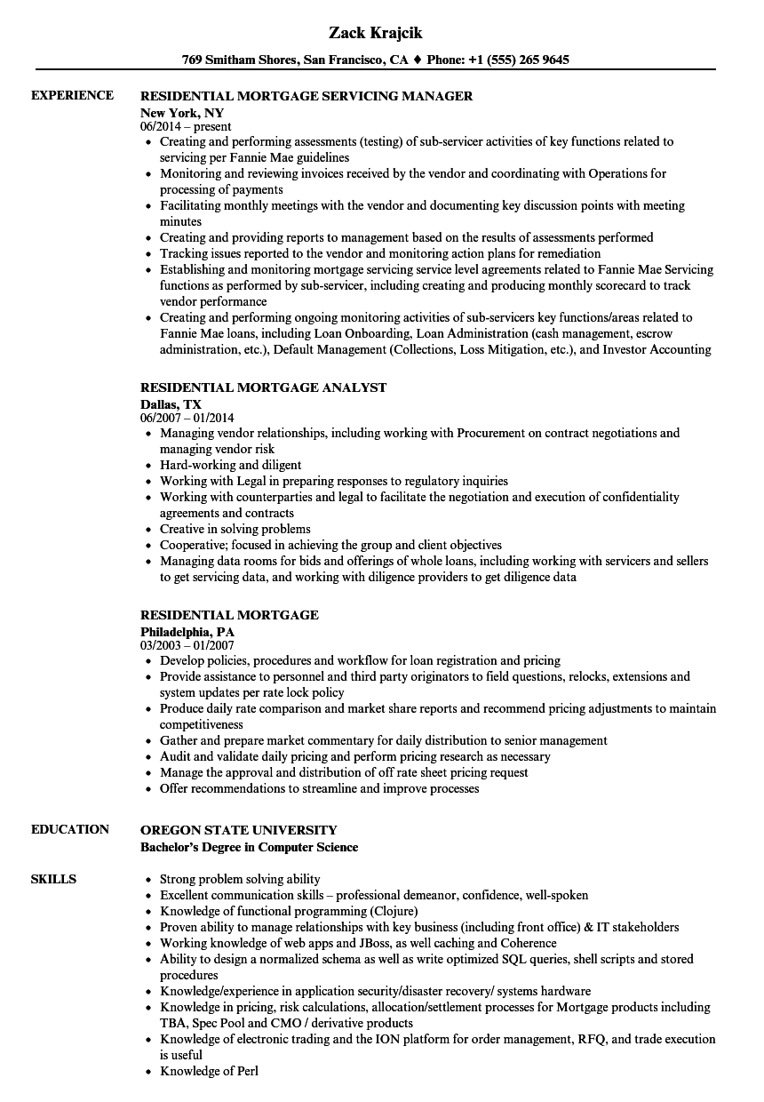 residential mortgage resume samples