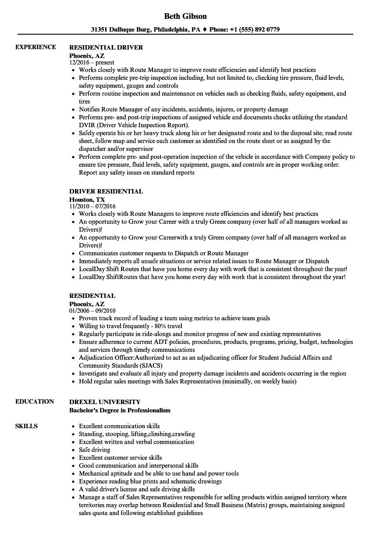 residential resume samples