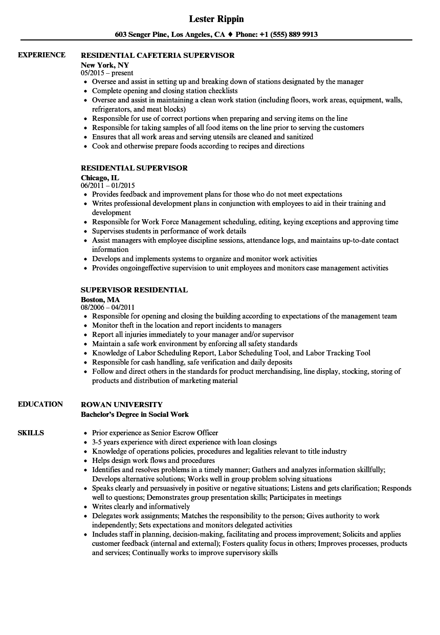 Residential Supervisor Resume Samples | Velvet Jobs