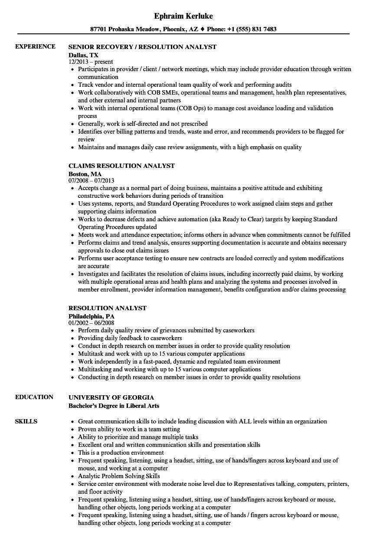 Resolution Analyst Resume Samples | Velvet Jobs