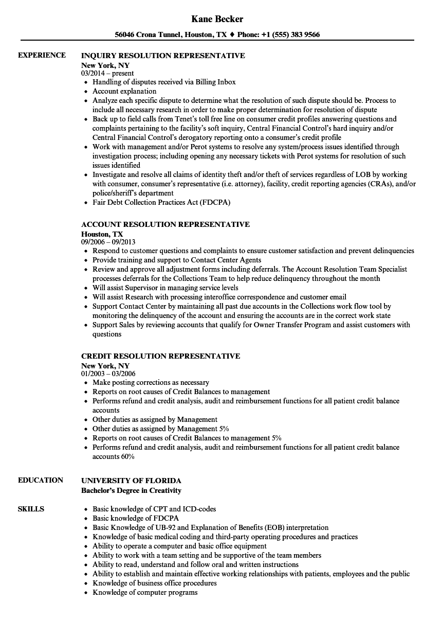 Resolution Representative Resume Samples Velvet Jobs