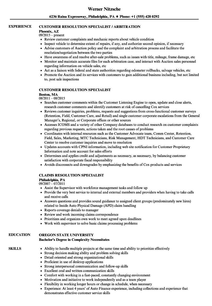 Download Resolution Specialist Resume Sample As Image File
