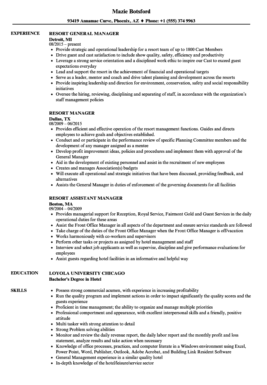 resort manager resume samples