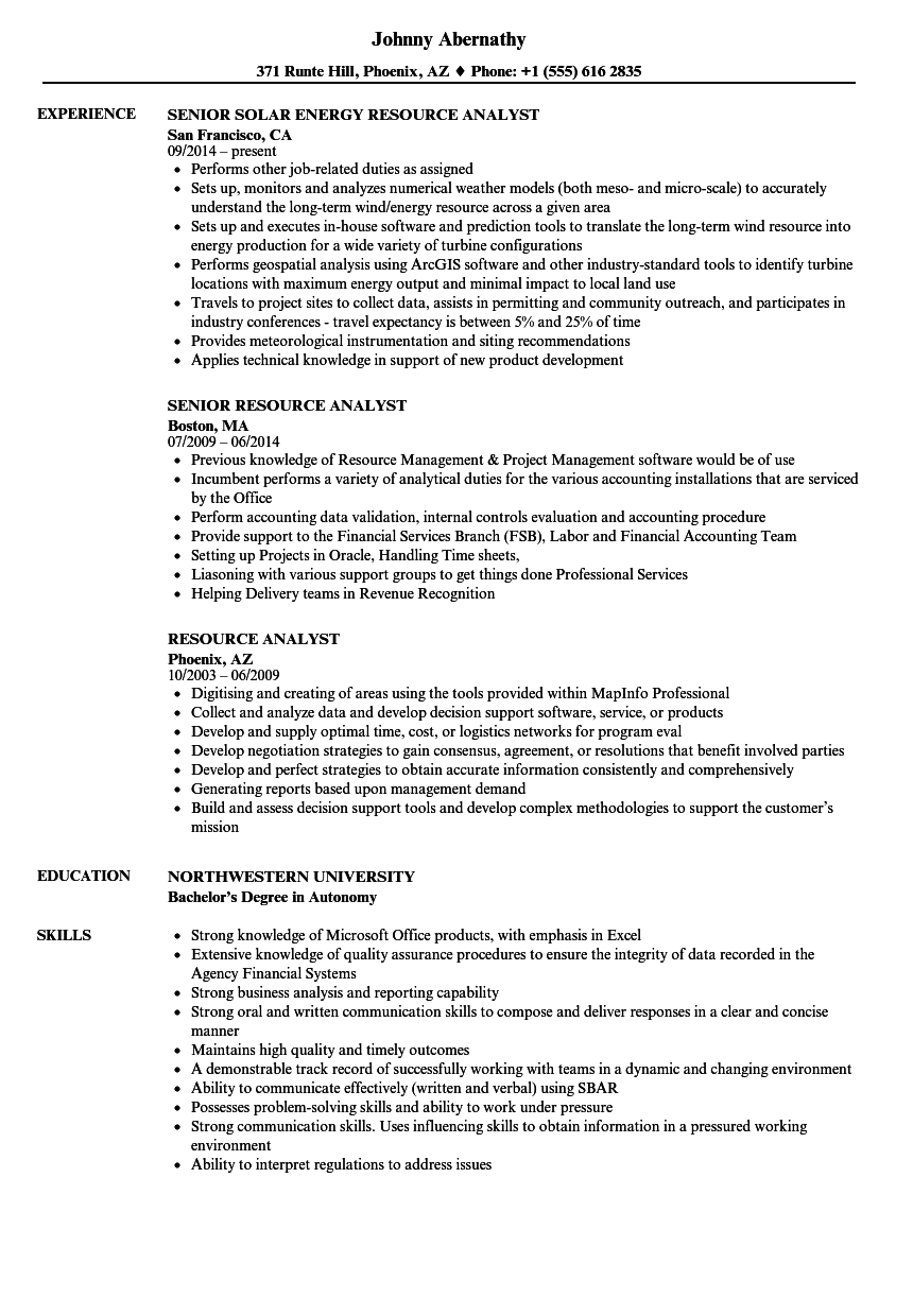 Download Resource Analyst Resume Sample As Image File