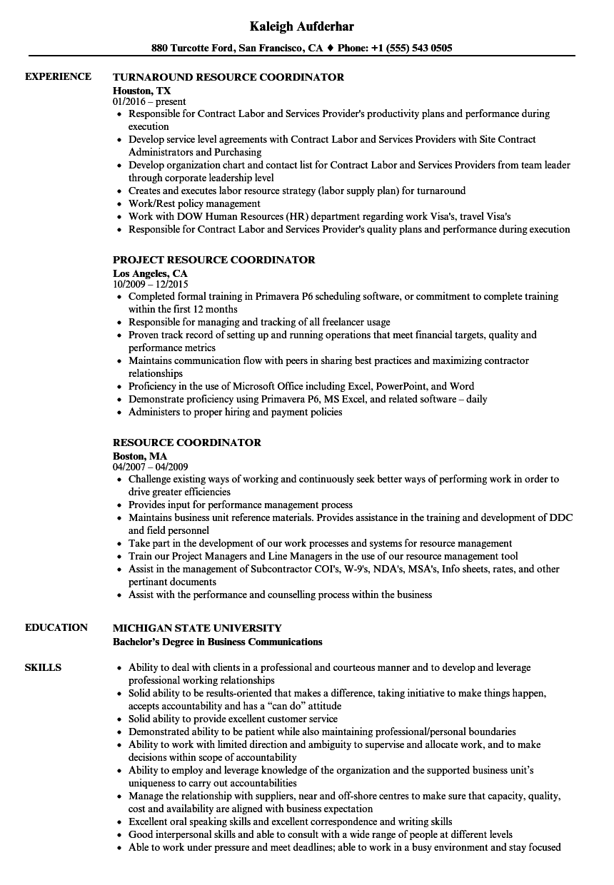 Resource Coordinator Resume Samples Velvet Jobs