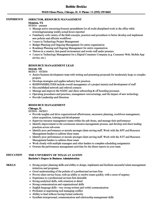 Resource Management Resume Samples   Velvet Jobs