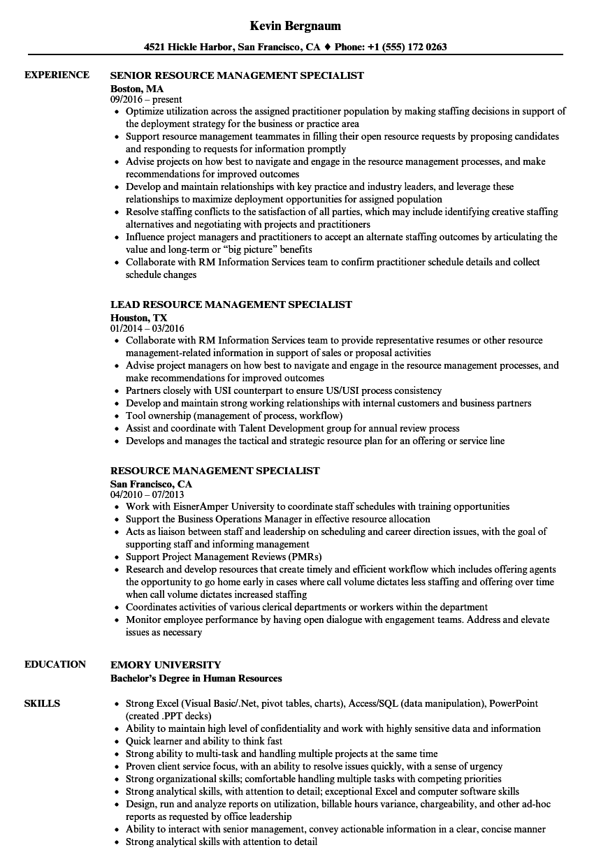Download Resource Management Specialist Resume Sample As Image File