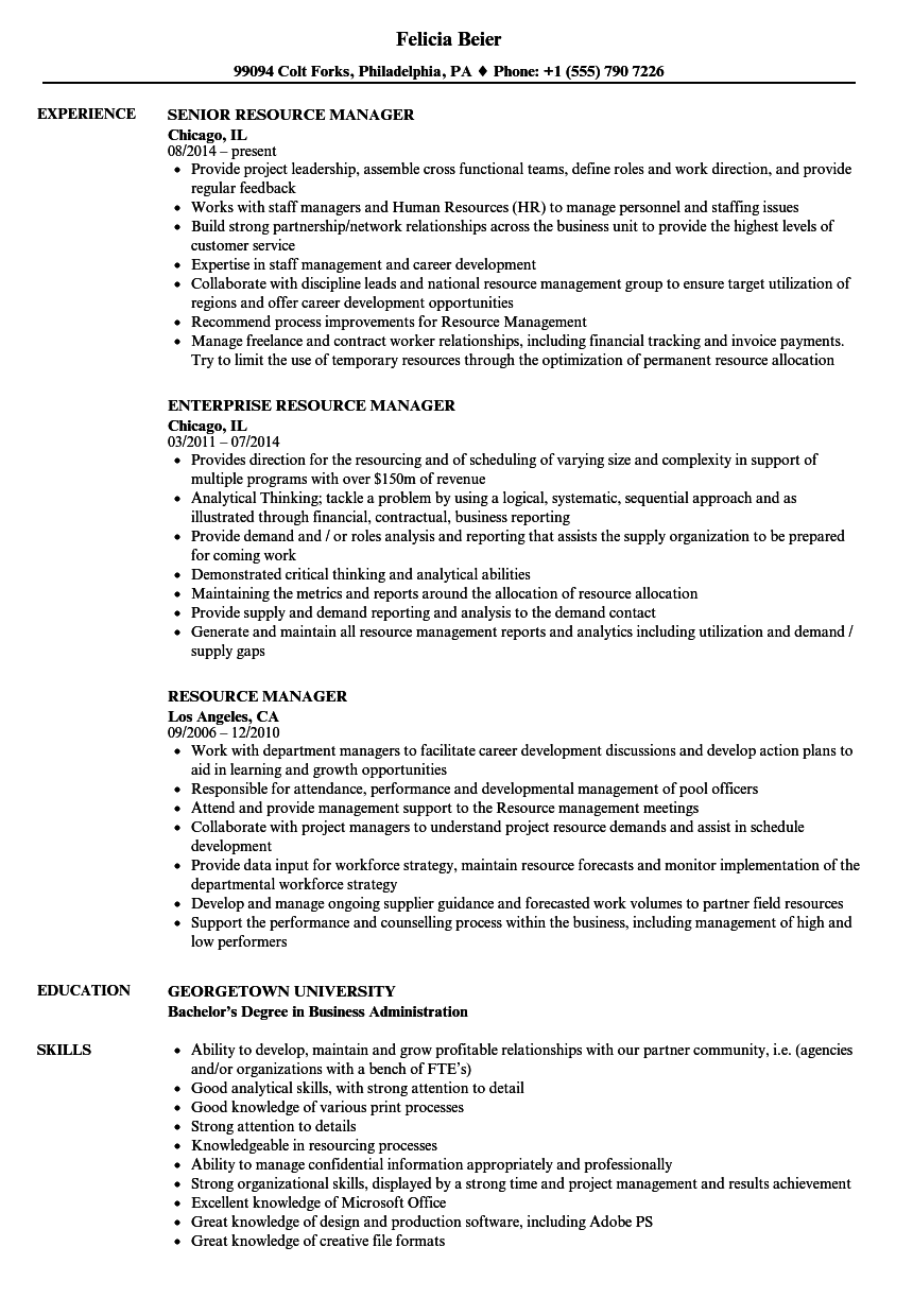 resource manager resume samples