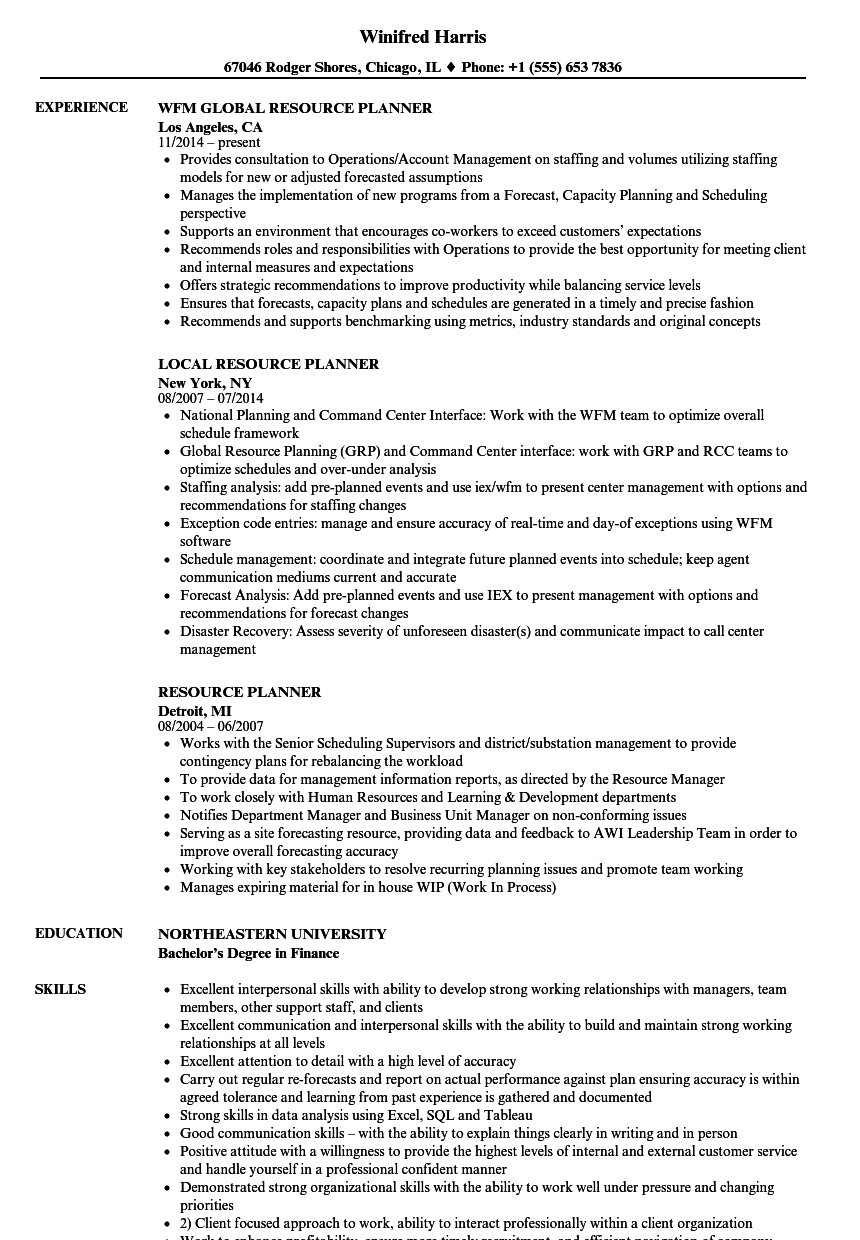 resource planner resume samples
