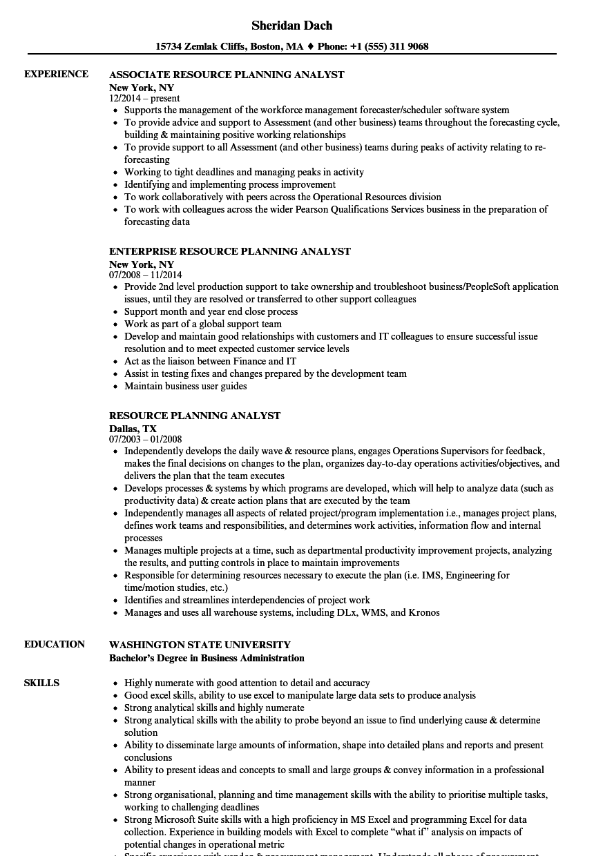 Resource Planning Analyst Resume Samples | Velvet Jobs