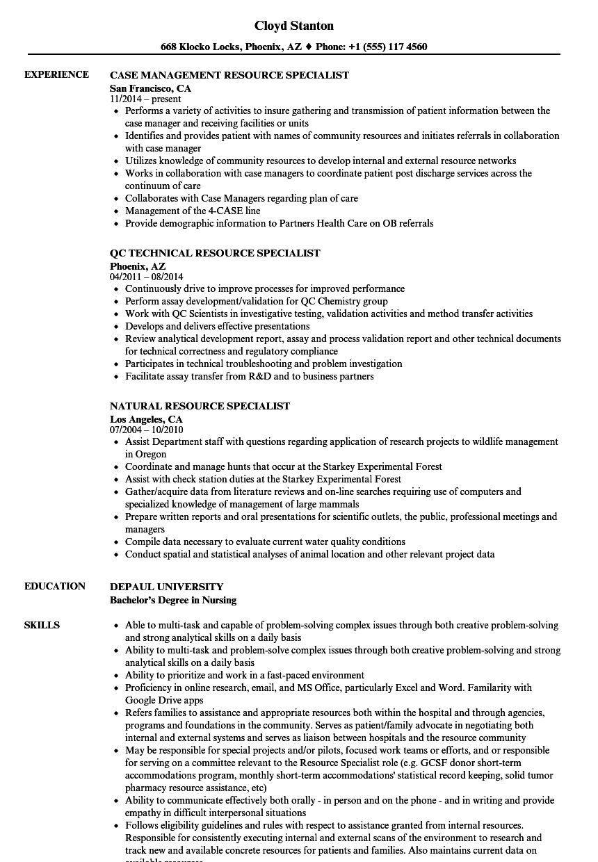 resource specialist resume samples