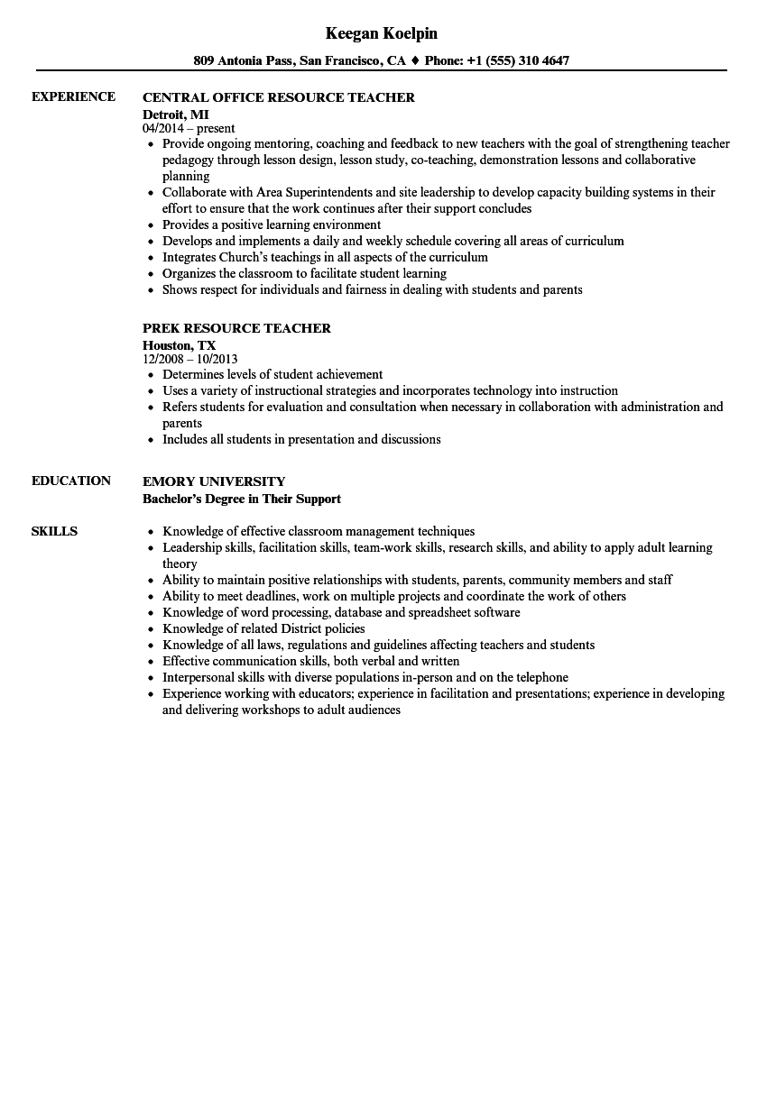Resource Teacher Resume Samples Velvet Jobs