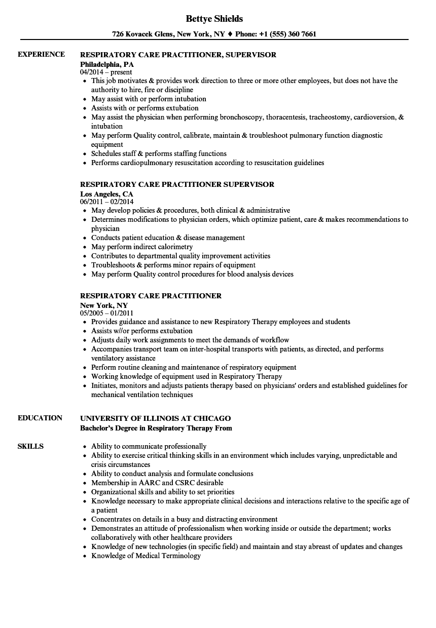 Respiratory Care Practitioner Resume Samples | Velvet Jobs