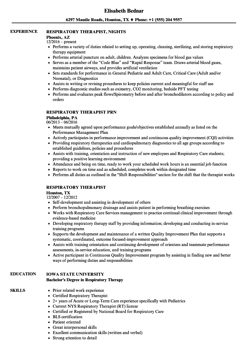 Respiratory Therapist Resume Samples | Velvet Jobs