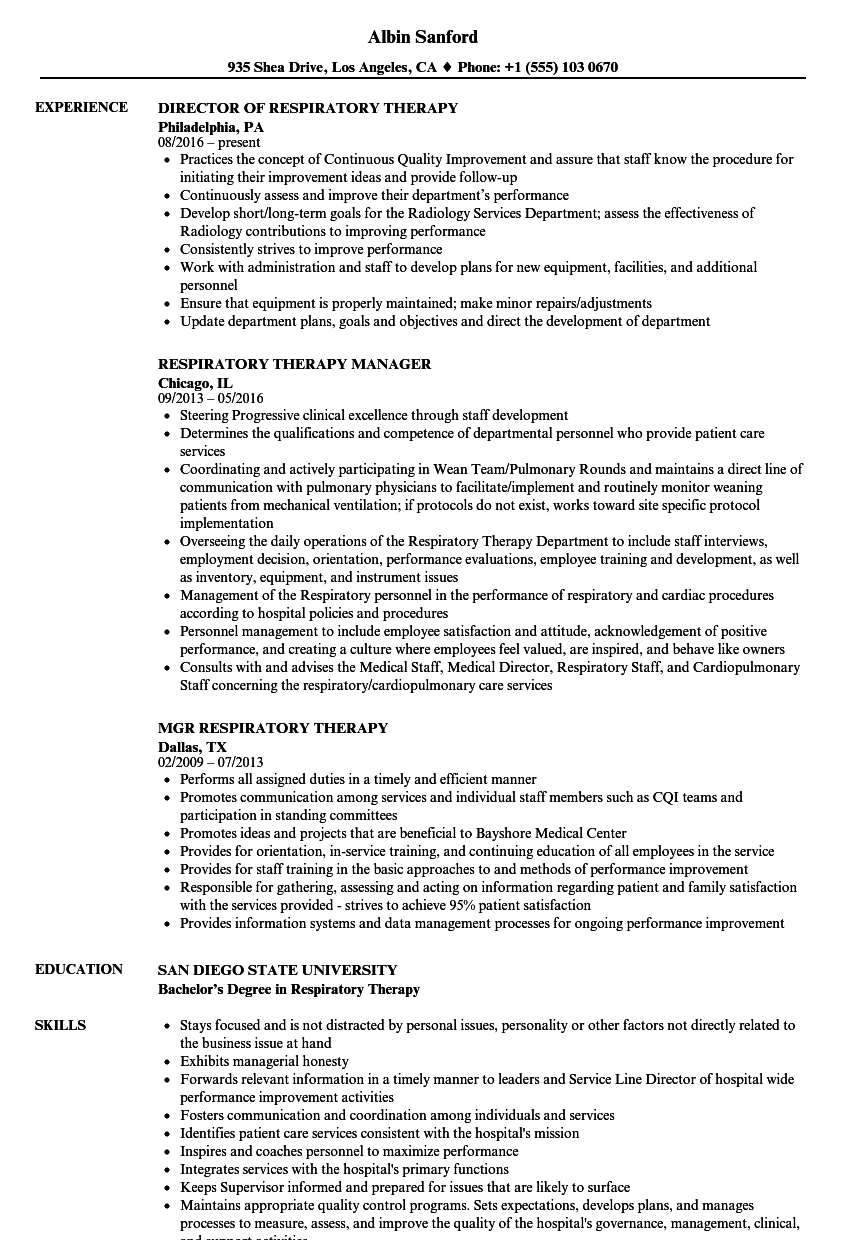 Velvet Jobs  Respiratory Therapy Resume