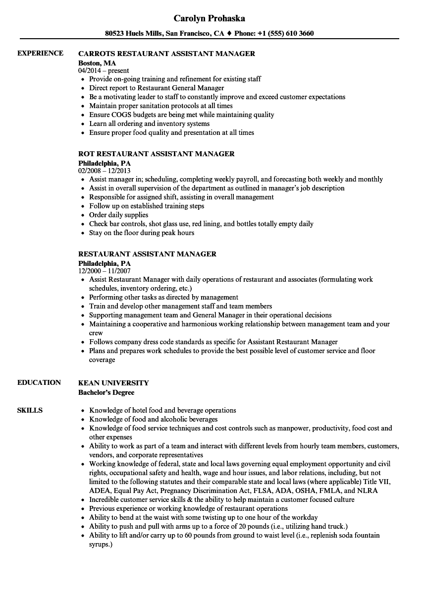Restaurant Assistant Manager Resume Samples | Velvet Jobs