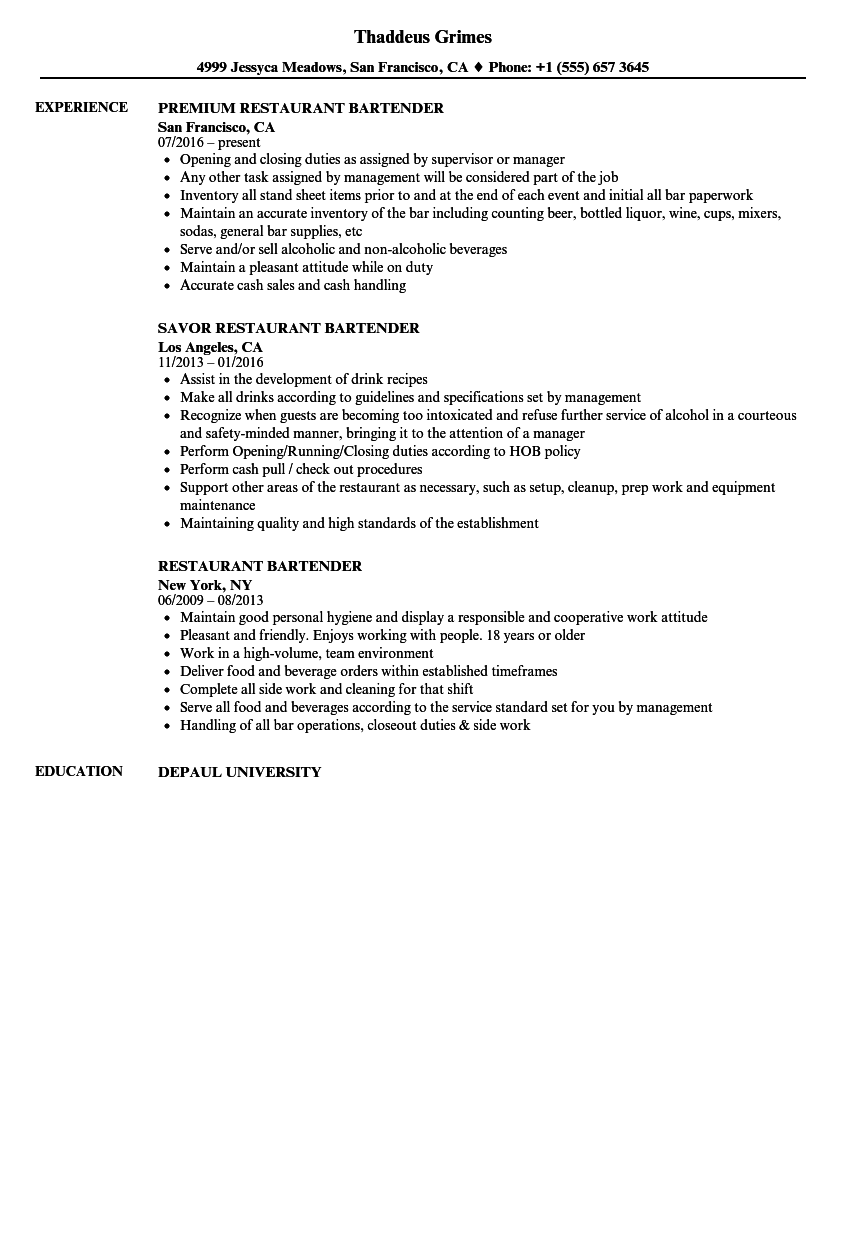 Restaurant Bartender Resume Samples | Velvet Jobs