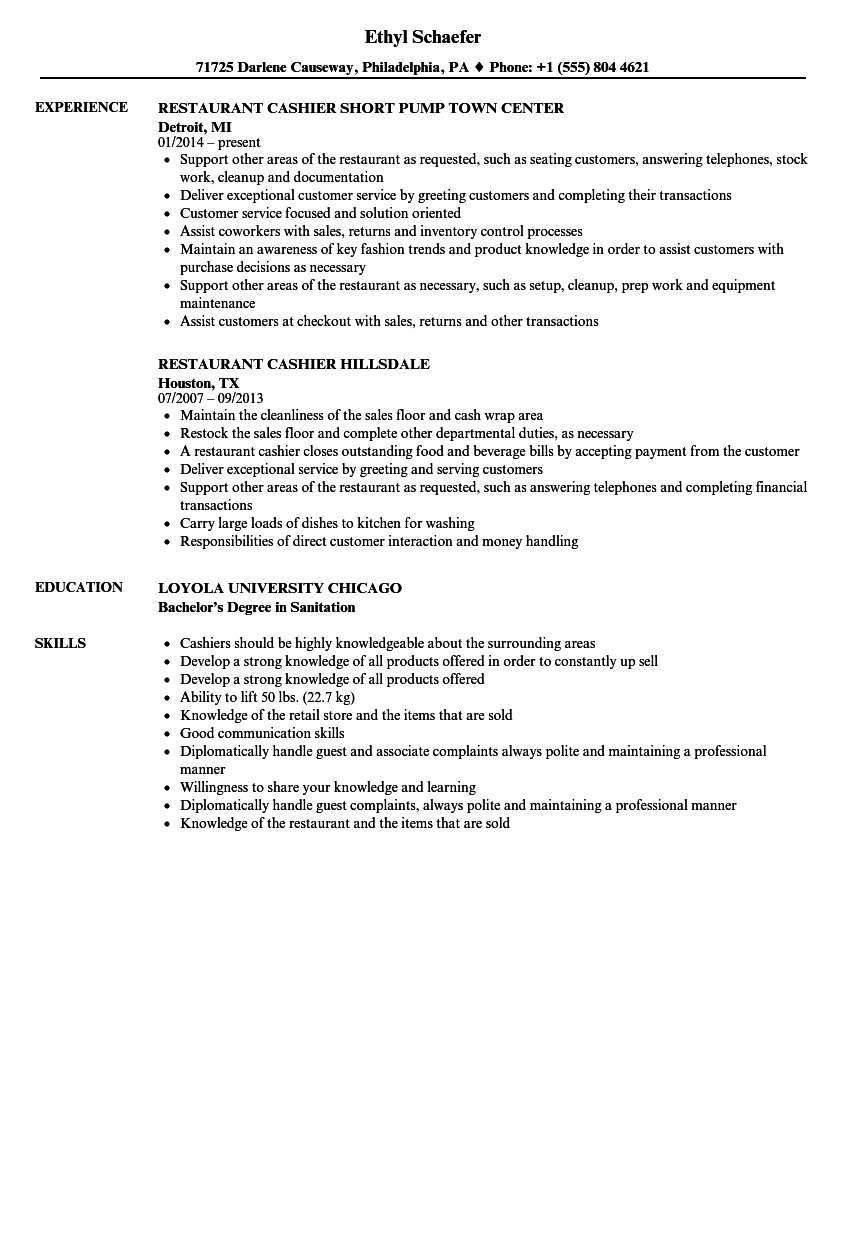 restaurant cashier resume sample april onthemarch co