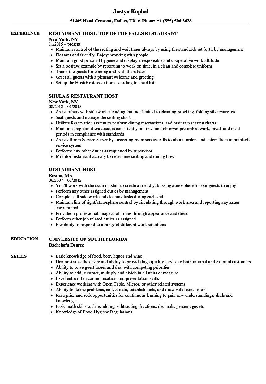 restaurant host resume samples