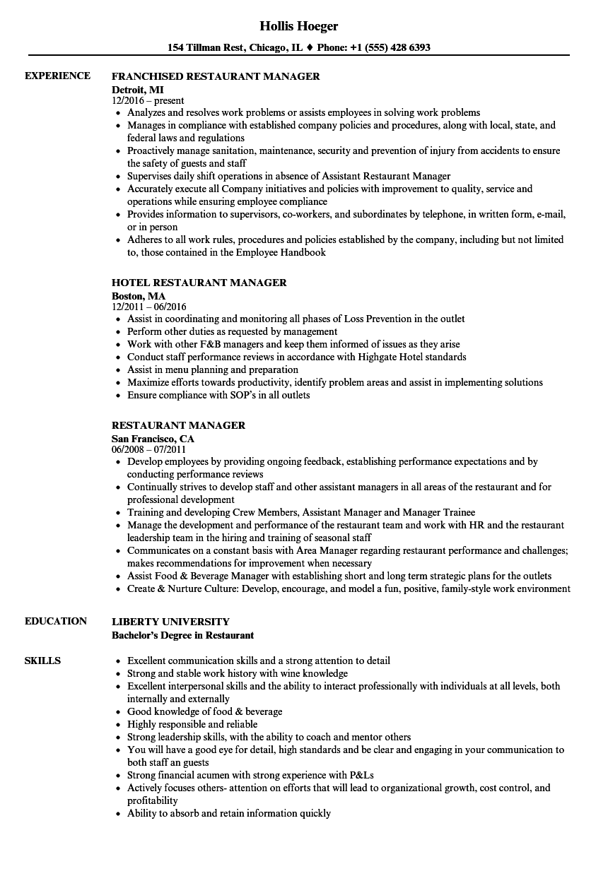 Restaurant Manager Resume Samples | Velvet Jobs
