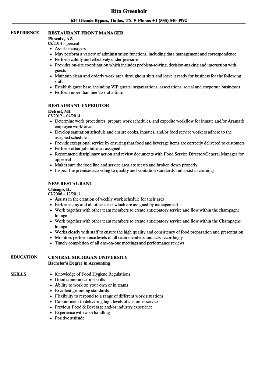 restaurant resume samples