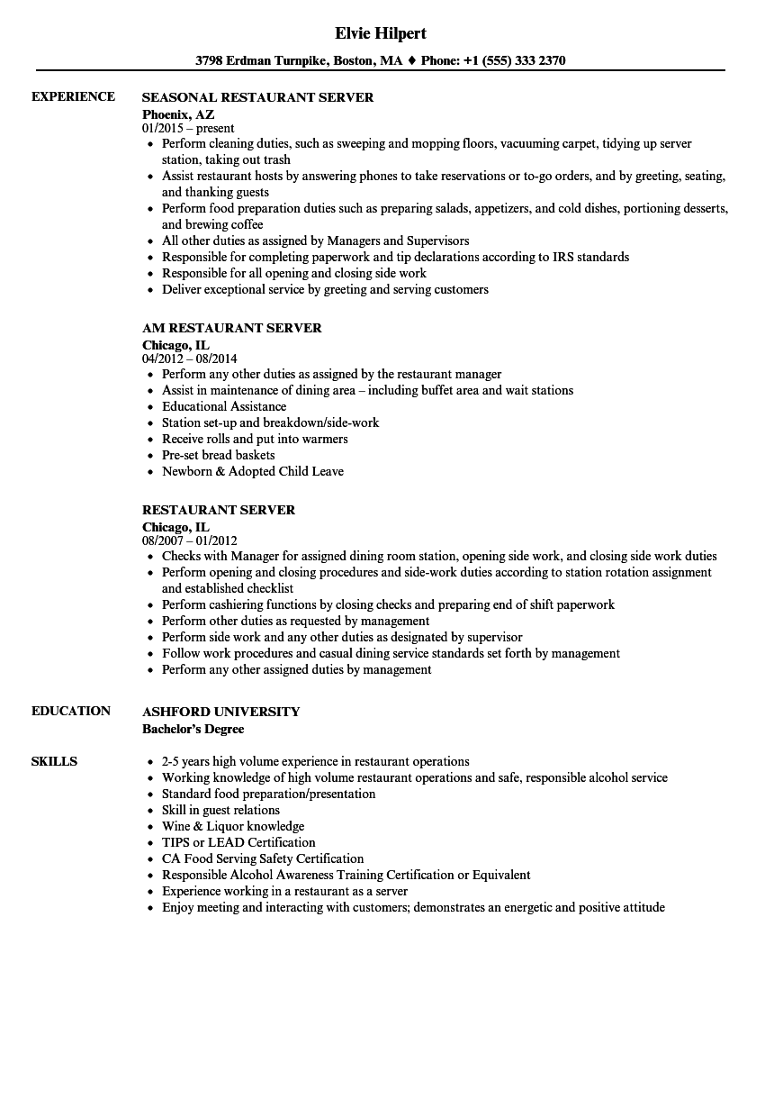 Restaurant Server Resume Samples | Velvet Jobs