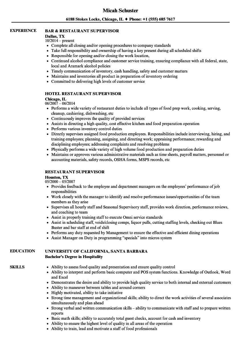 Supervisor Resume Sample Restaurant Supervisor Resume Samples Velvet Jobs 2