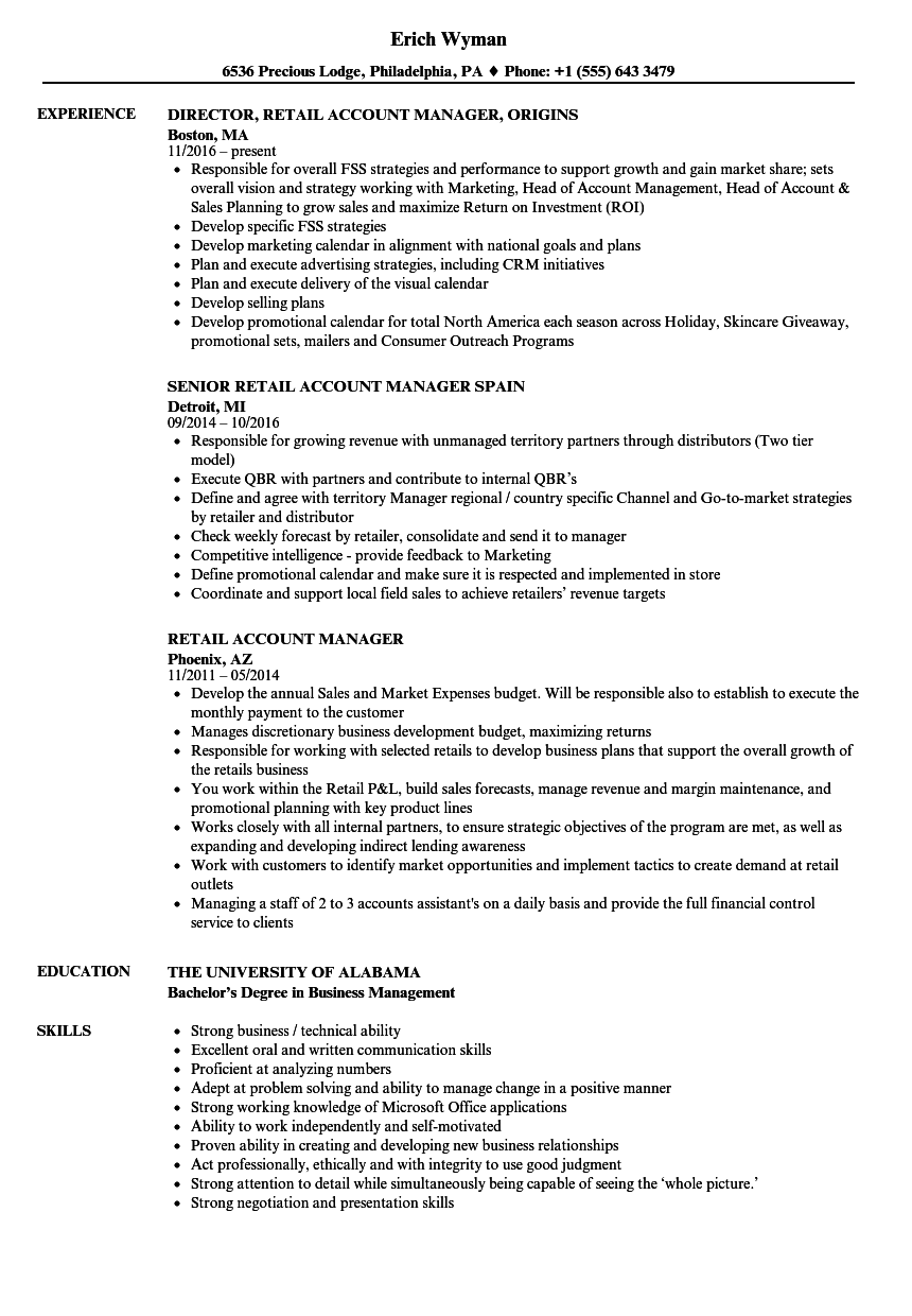 Retail Account Manager Resume Samples | Velvet Jobs