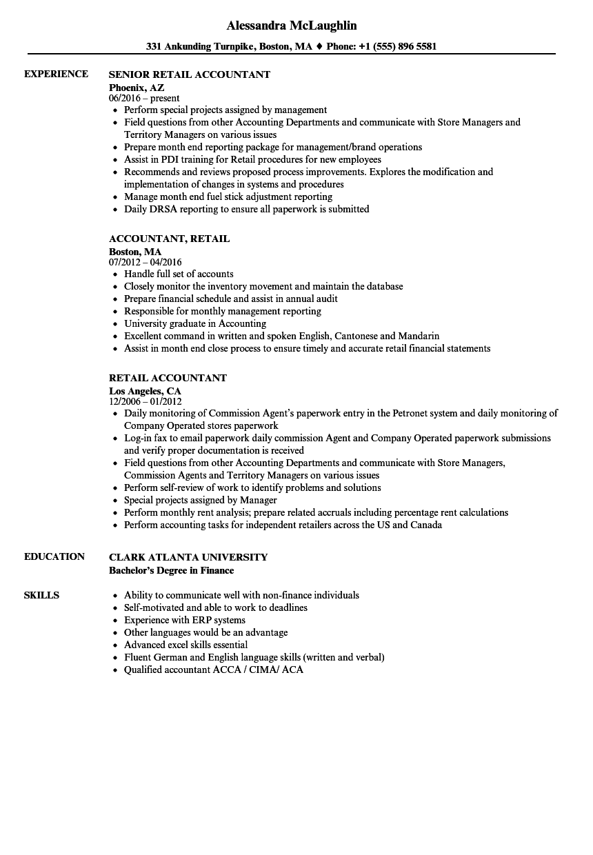 Retail Accountant Resume Samples | Velvet Jobs