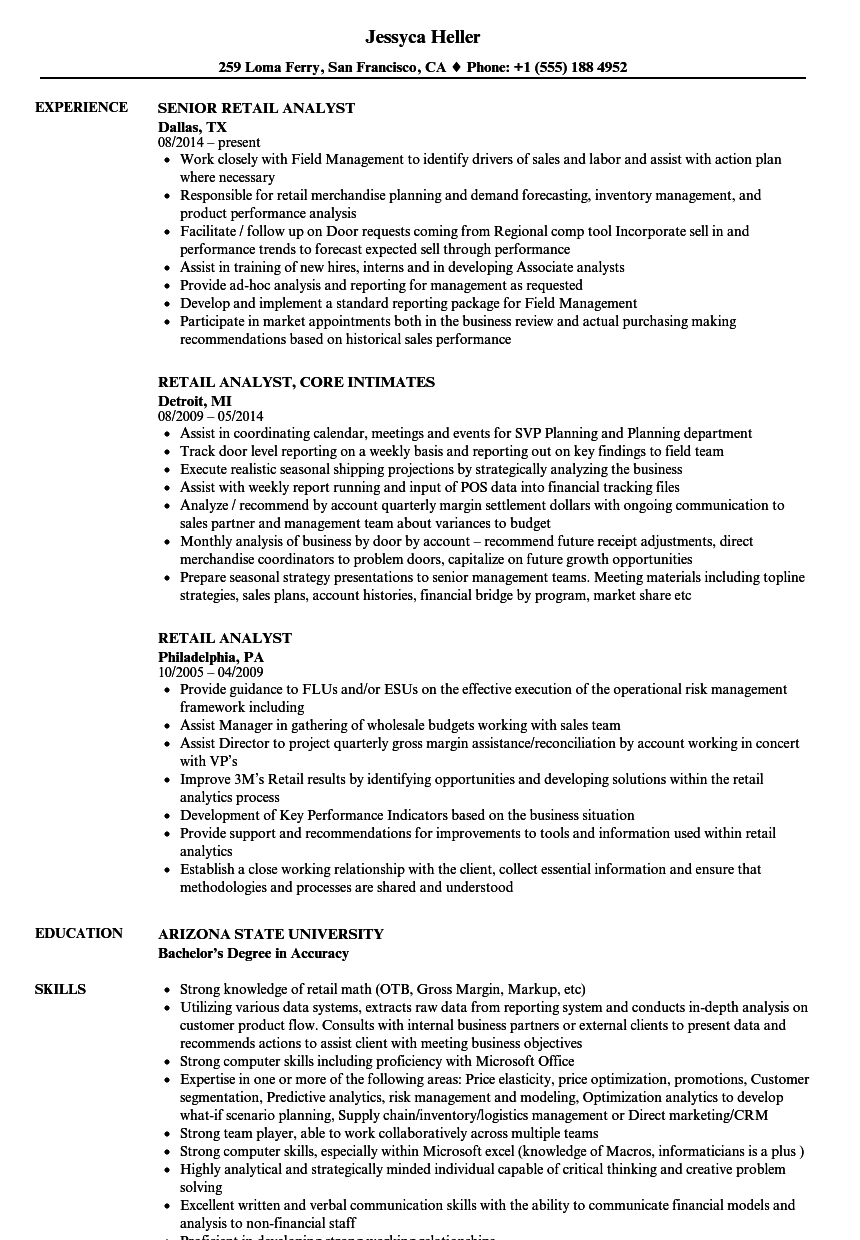 retail analyst resume samples