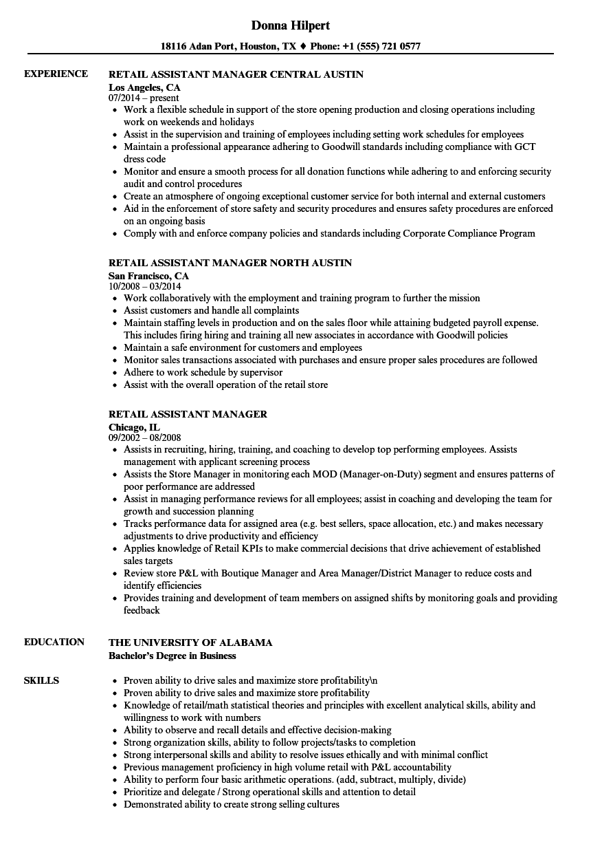 retail assistant manager resume samples