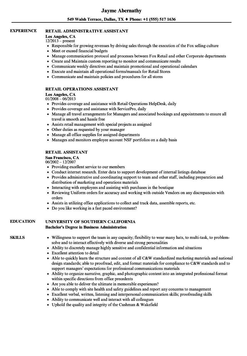 Retail Assistant Resume Samples Velvet Jobs