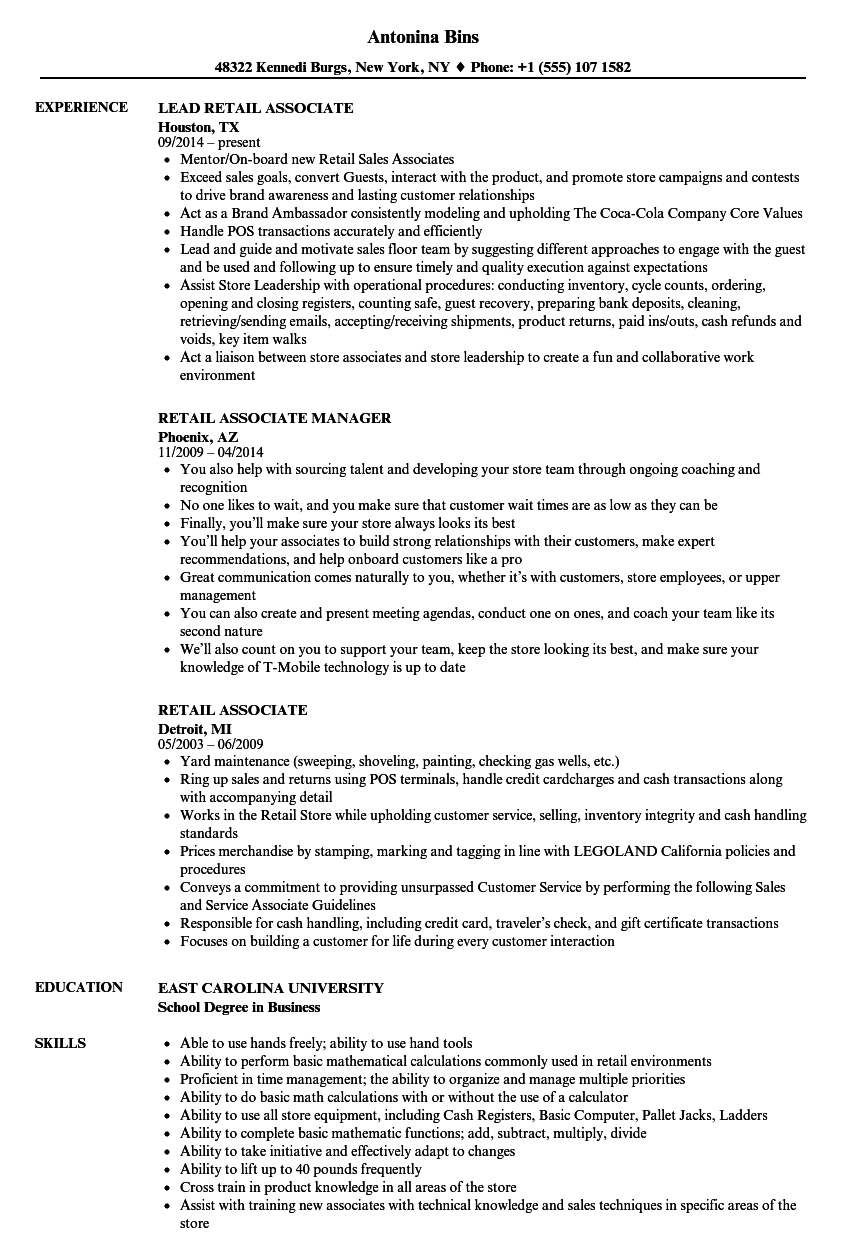 Retail Associate Resume Samples | Velvet Jobs