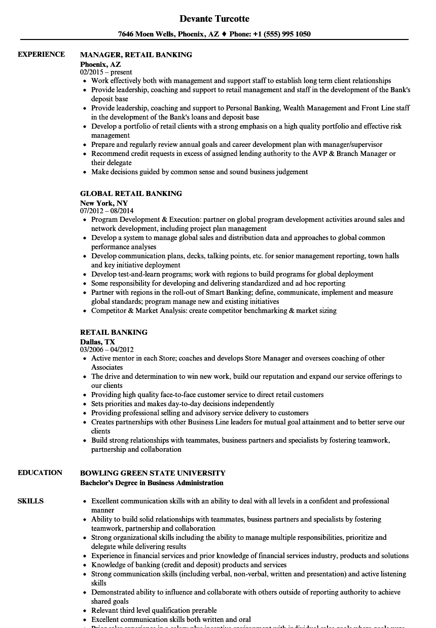 Download Retail Banking Resume Sample As Image File