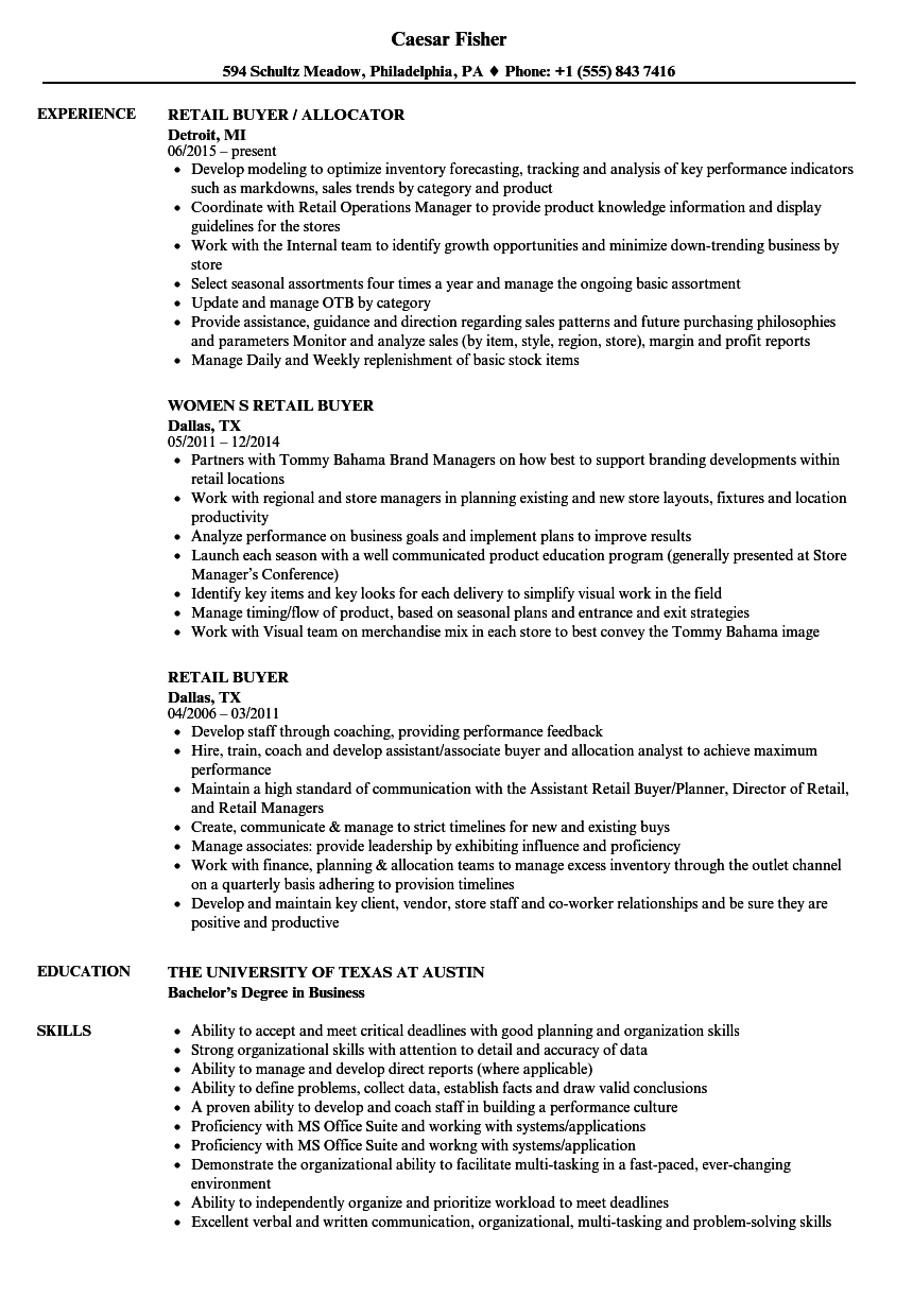 Retail Buyer Resume Samples | Velvet Jobs