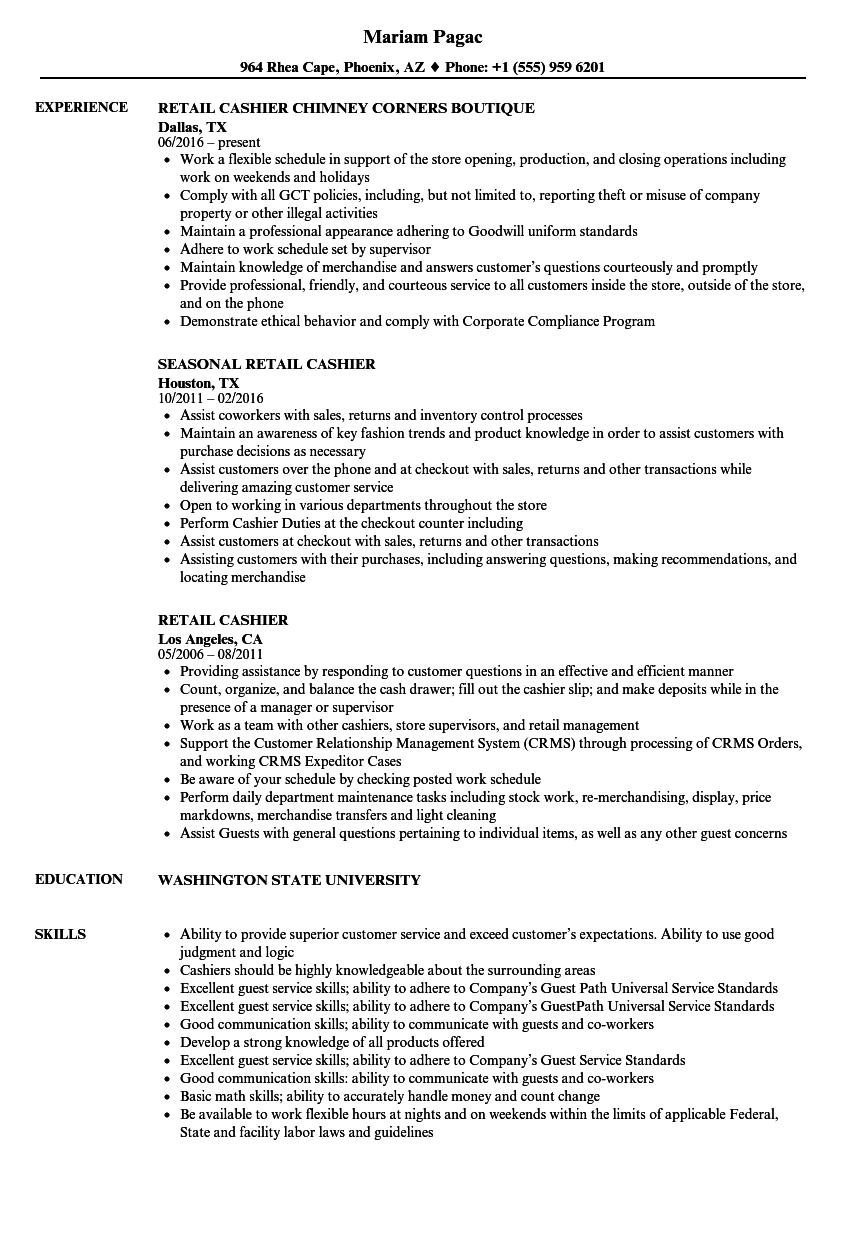 retail cashier resume samples
