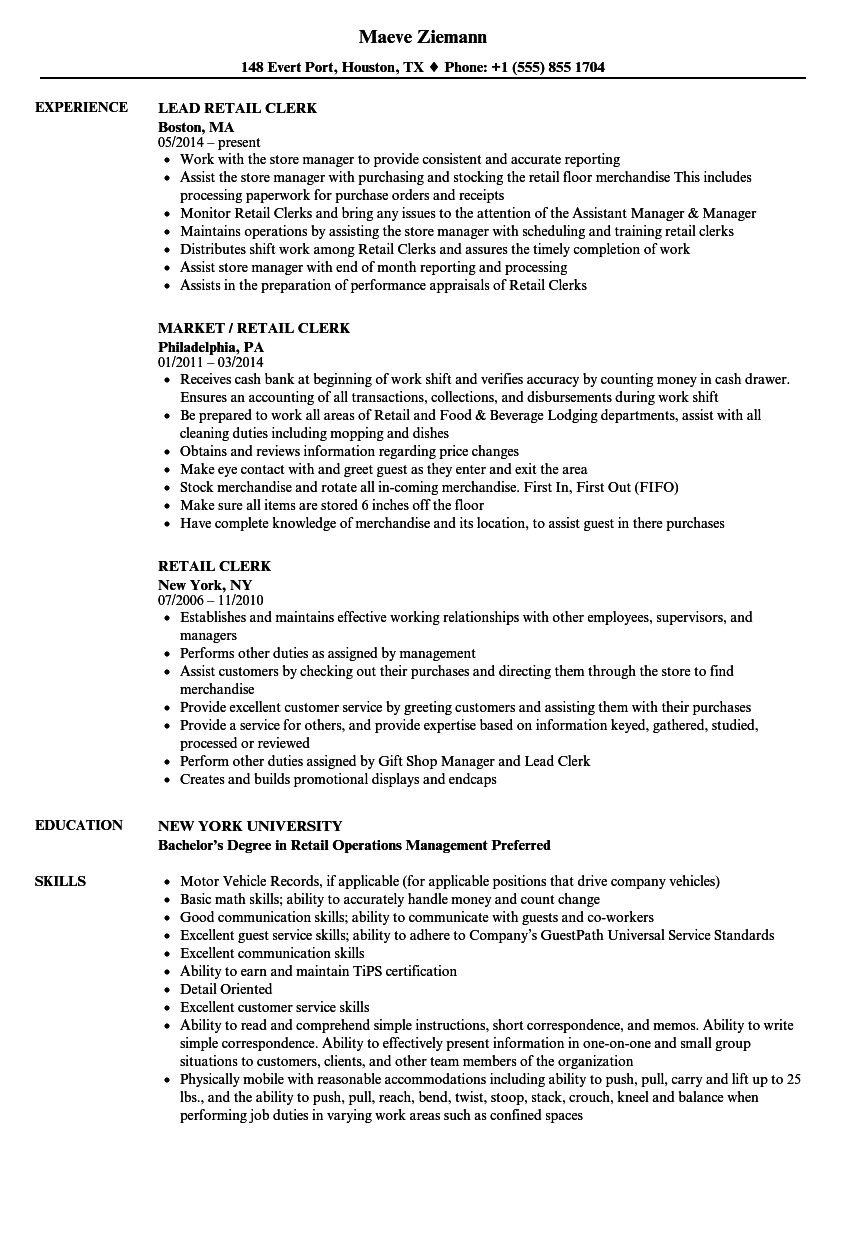 Retail Clerk Resume Samples   Velvet