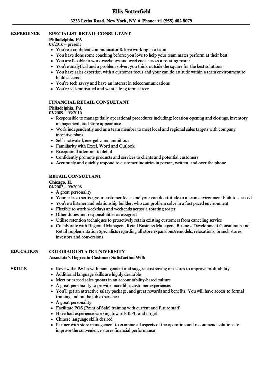 Retail Consultant Resume Samples | Velvet Jobs