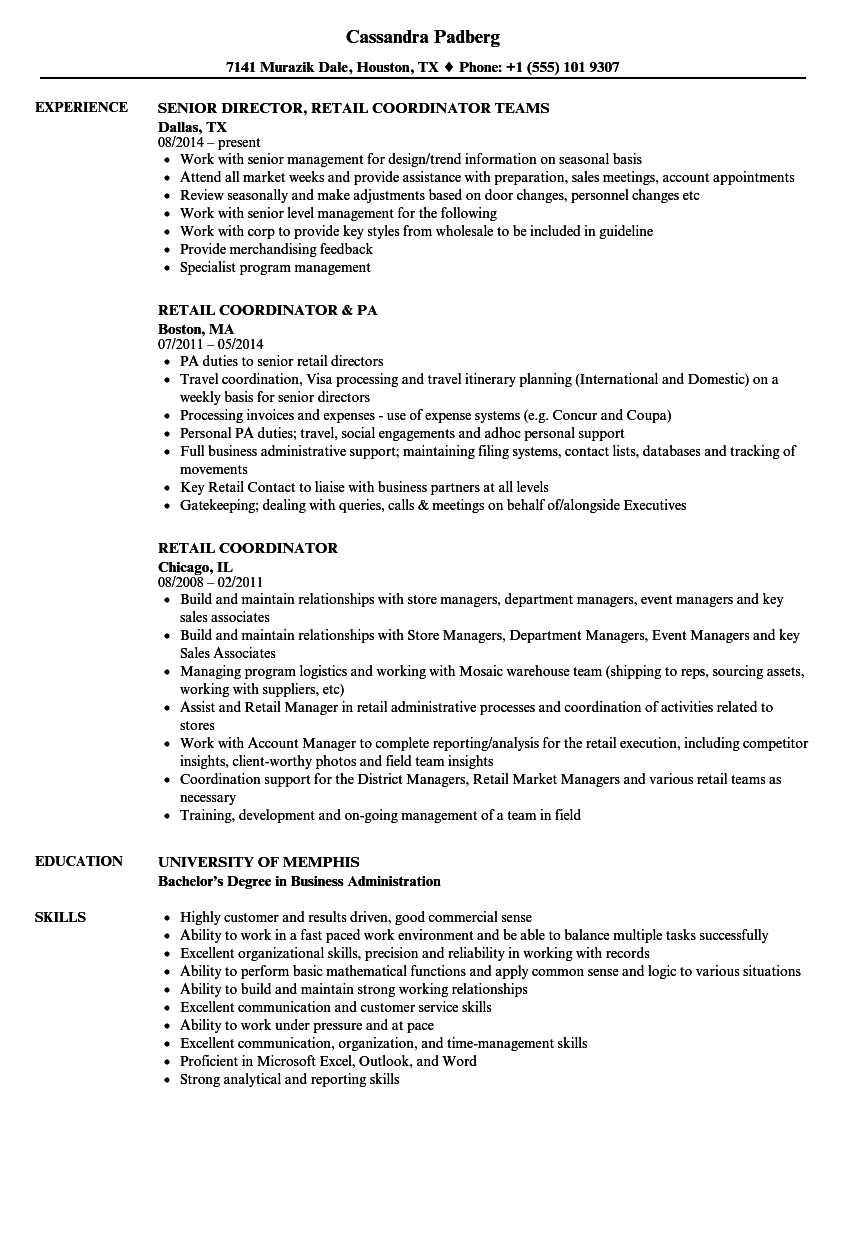Retail Coordinator Resume Samples  Velvet Jobs