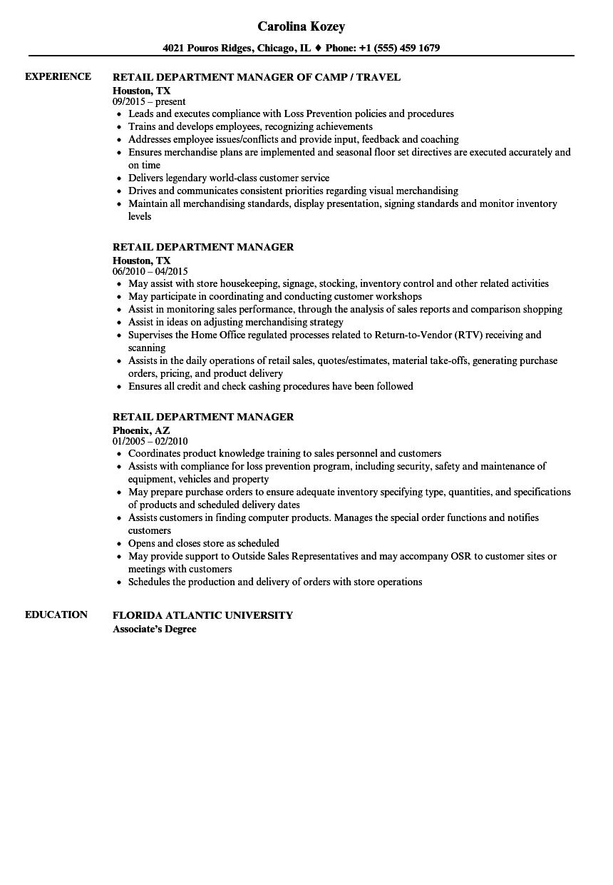 Retail Department Manager Resume Samples | Velvet Jobs