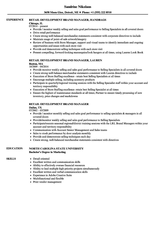 retail development resume samples