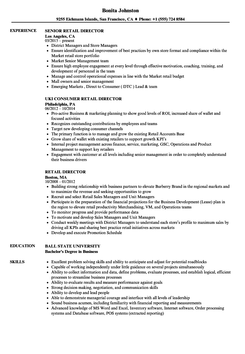 Retail Director Resume Samples