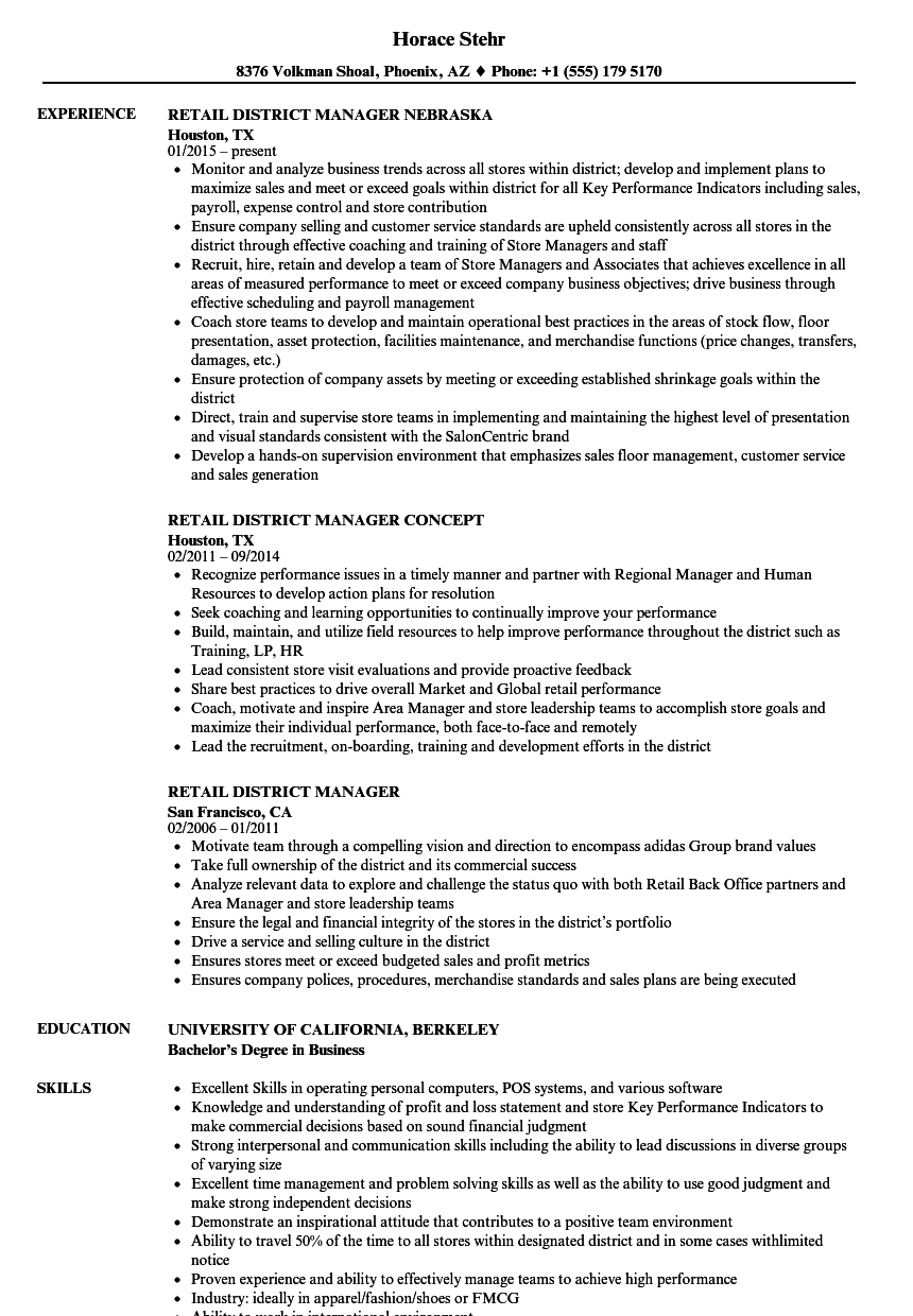 retail district manager resume samples