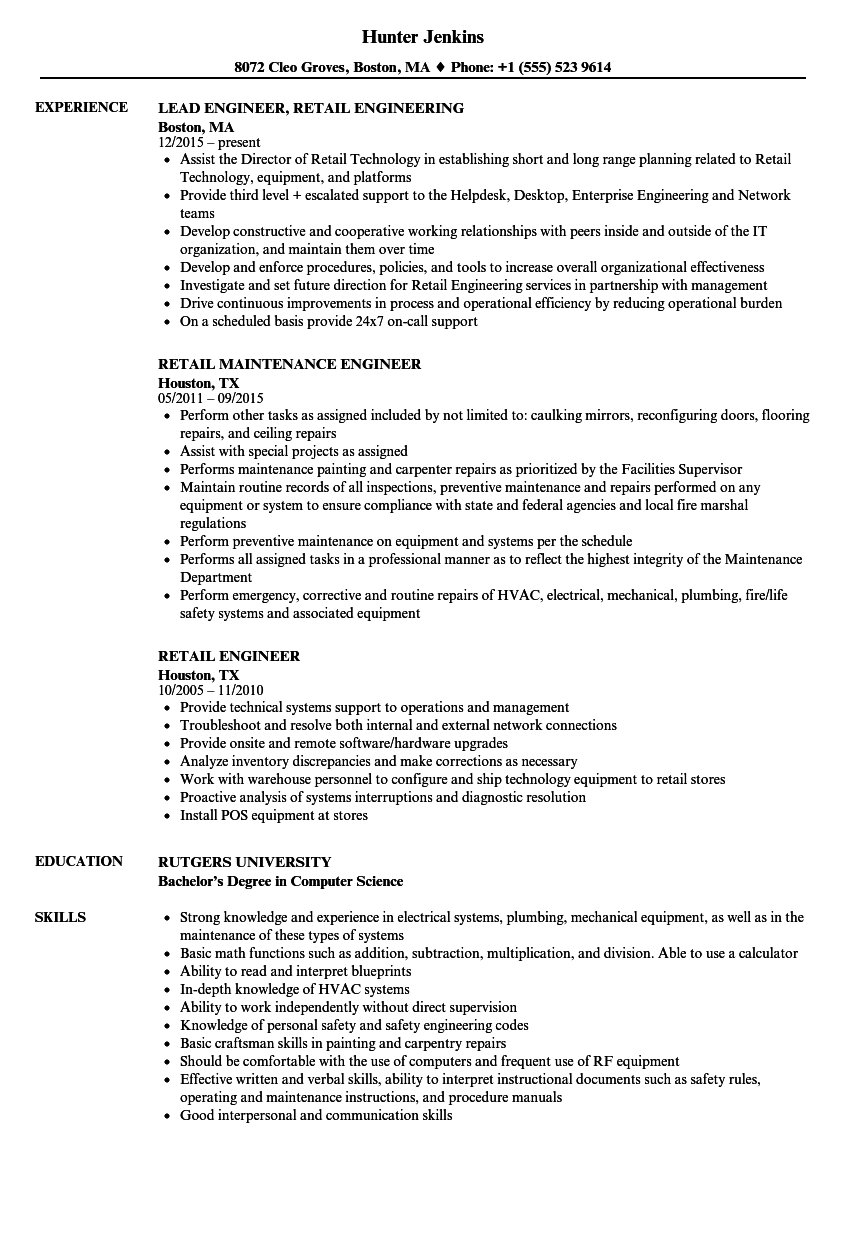 Retail Engineer Resume Samples | Velvet Jobs