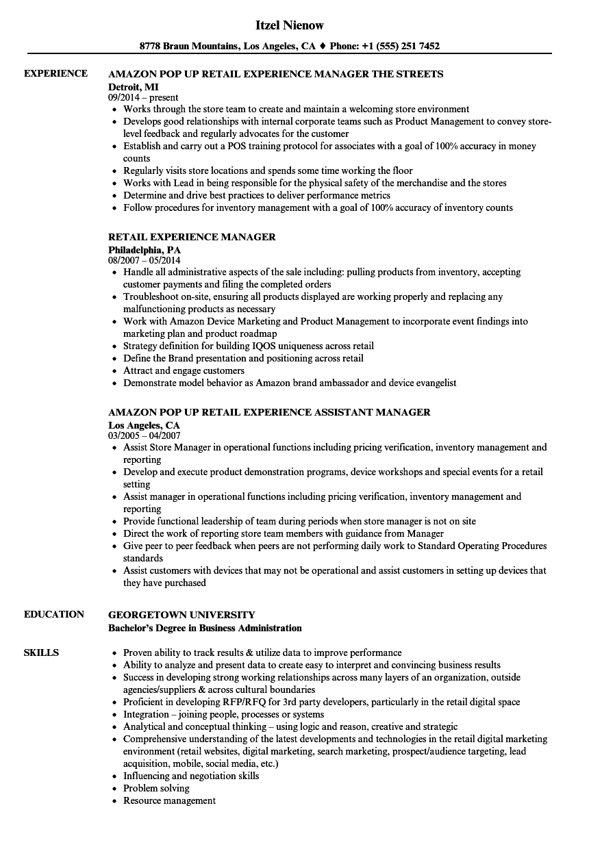 Retail Experience Resume Samples Velvet Jobs