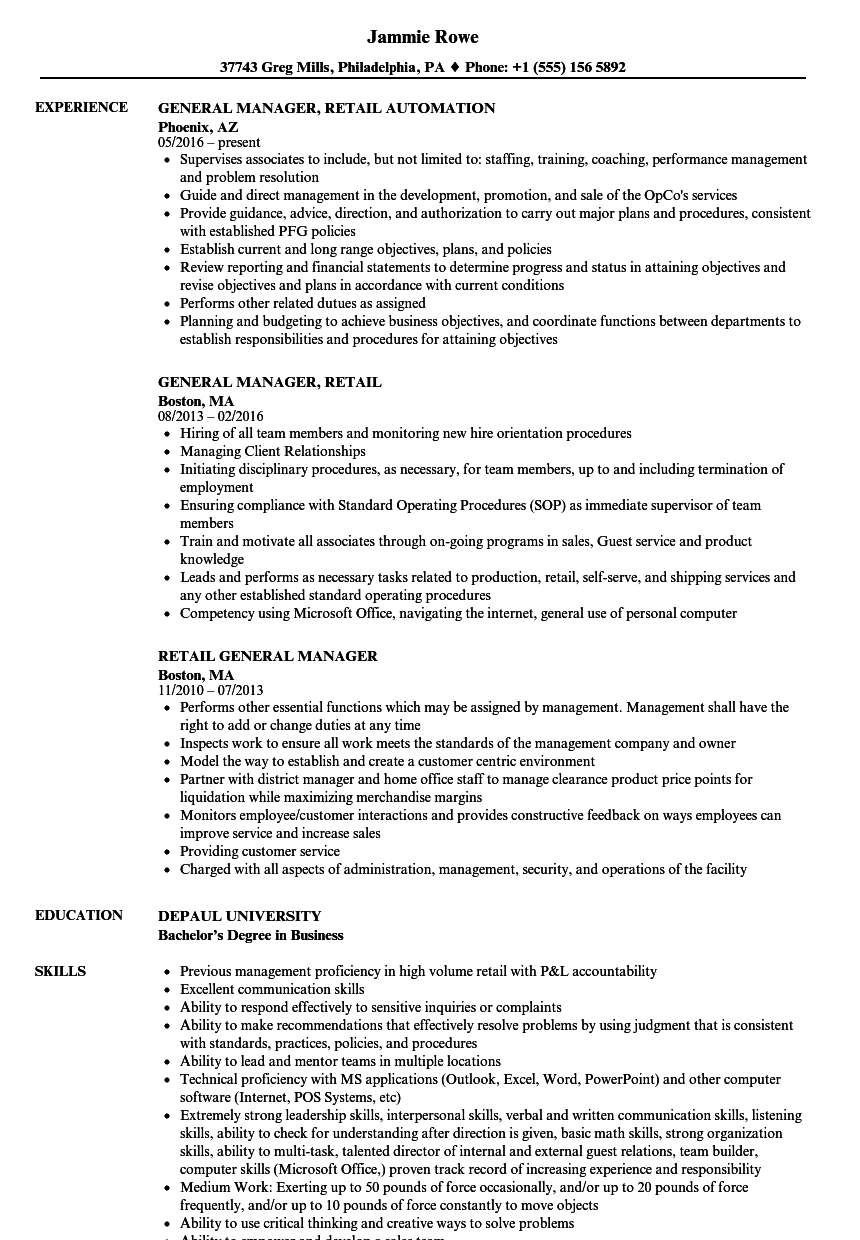 retail general manager resume samples
