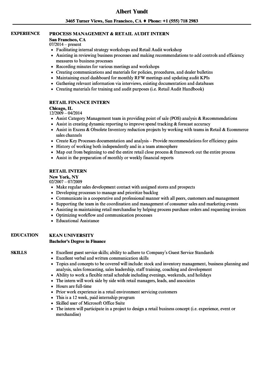 download retail intern resume sample as image file