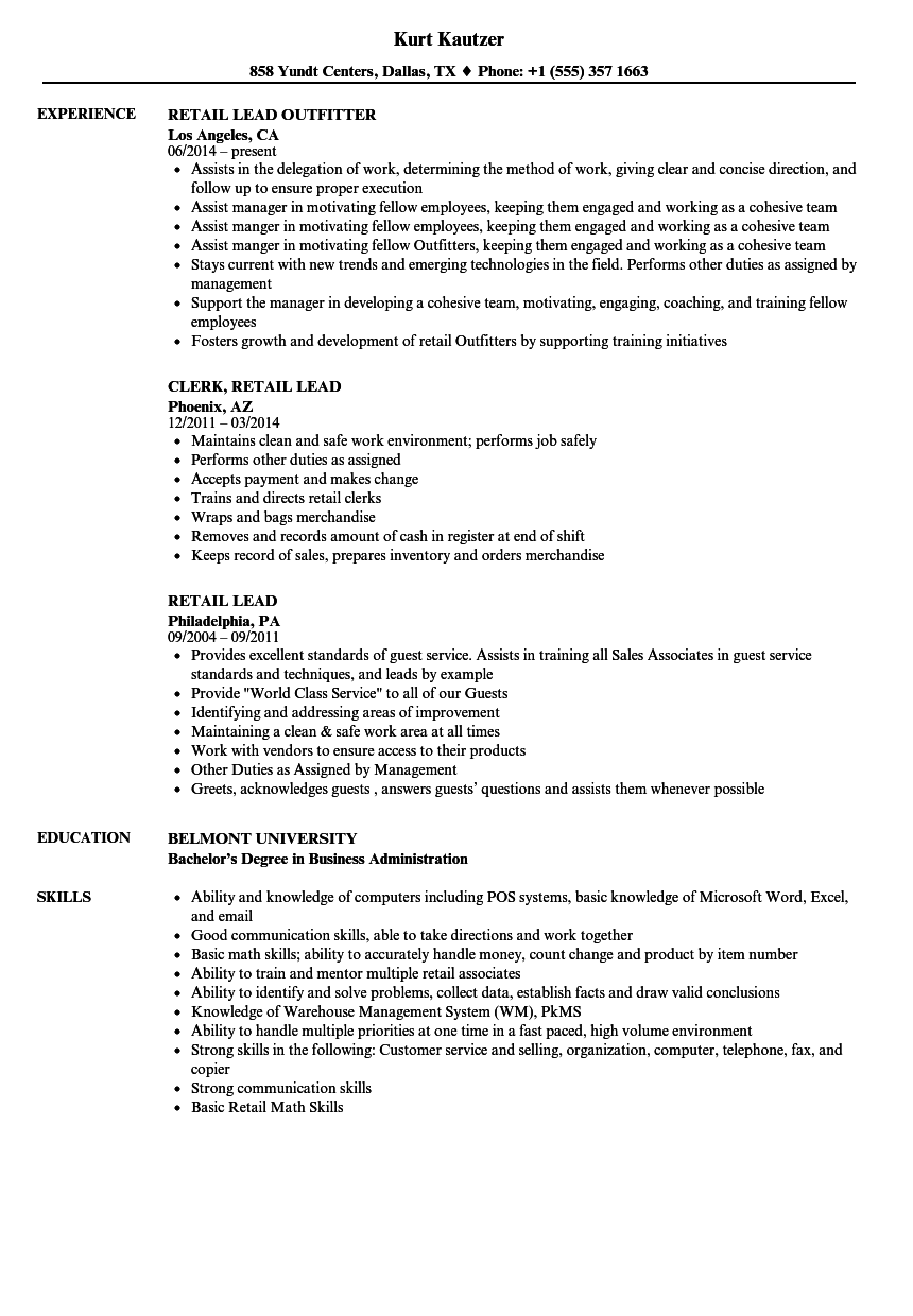 Download Retail Lead Resume Sample As Image File