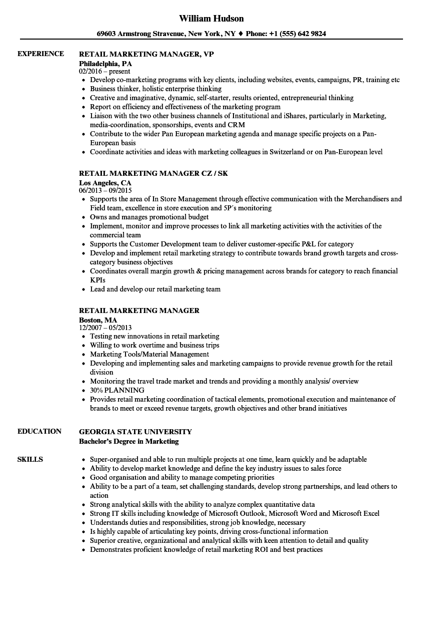 Velvet Jobs Pertaining To Retail Marketing Resume